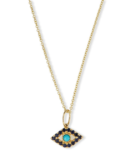Sydney Evan Small Turquoise Cabochon Evil Eye Pendant Necklace w/Sapphires 4zEgDMjVZB