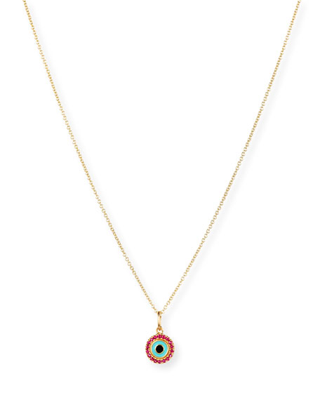 Sydney Evan 14K Small Enamel Eye Pendant Necklace
