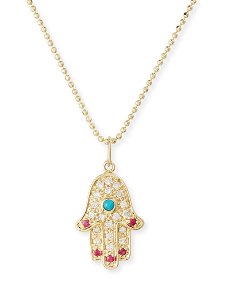 Sydney Evan 14K Hamsa Pendant Necklace with Turquoise,