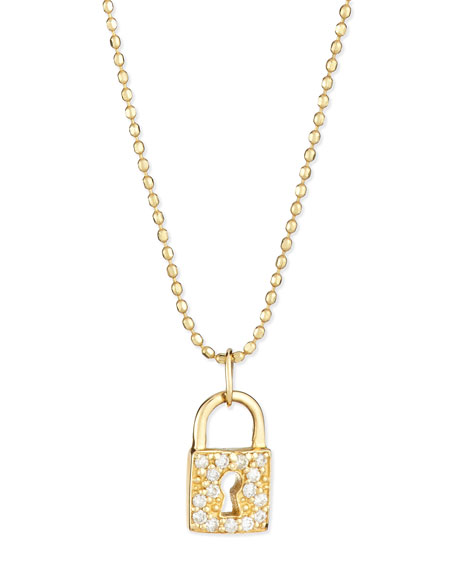 14k Gold Diamond Lock Pendant Necklace
