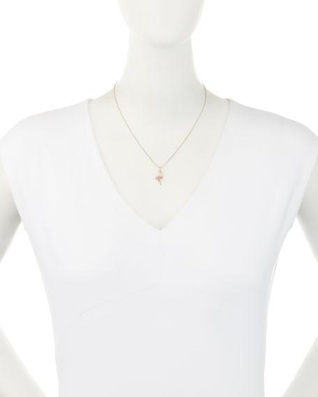 Pavé Diamond & Pink Sapphire Flamingo Charm Necklace