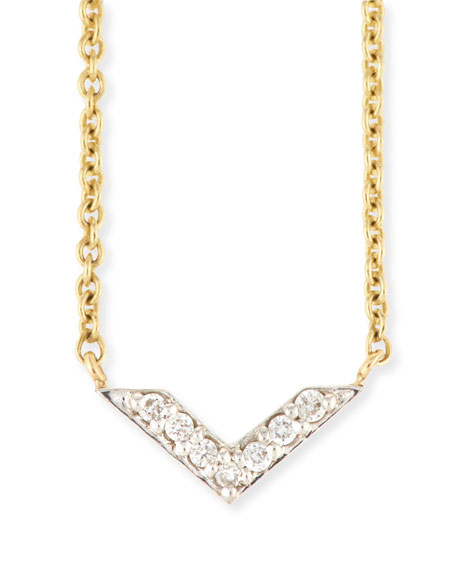 Sydney Evan Two-Tone Diamond Chevron Necklace ya7I0