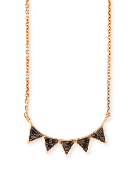 Sydney Evan 14K Rose Gold Black Diamond Triangle