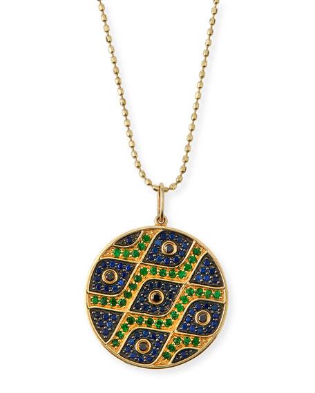 Sydney Evan Multi-Eye Black Diamond & Sapphire Medallion