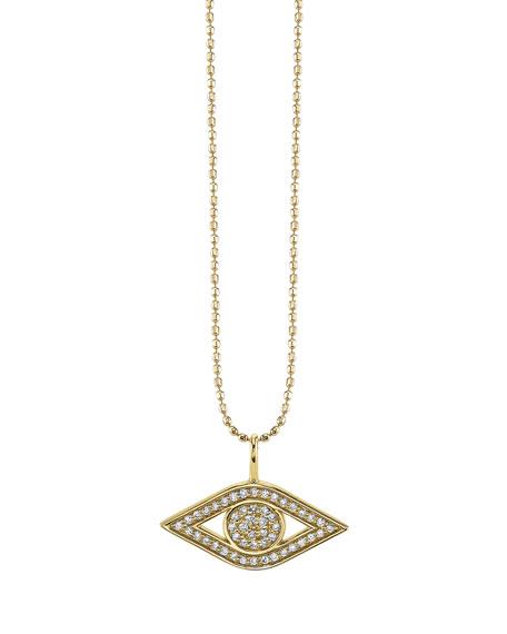 Small Pave Diamond Pure Evil Eye Necklace