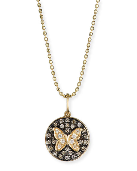 Sydney Evan Butterfly Medallion Necklace with Diamonds
