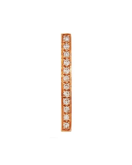 14K Medium Bar Single Stud Earring with Diamonds