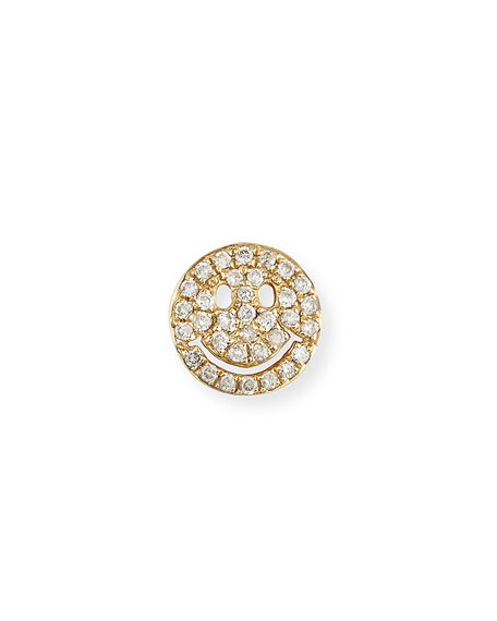 14k Pave Diamond Happy Face Single Stud Earring