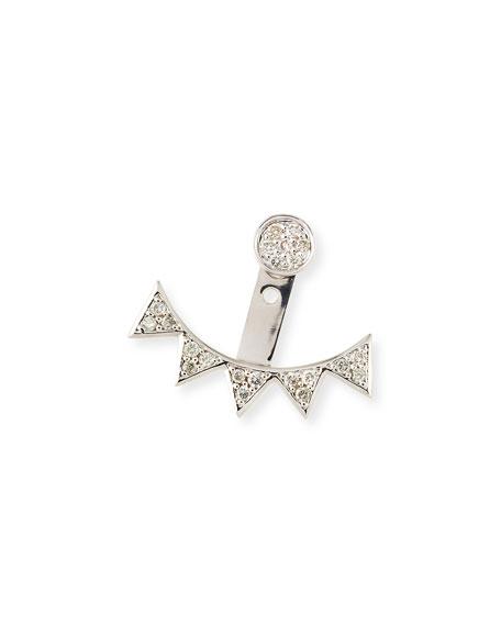 Single Earring with Pave Diamond & 5-Triangle Ear Jacket