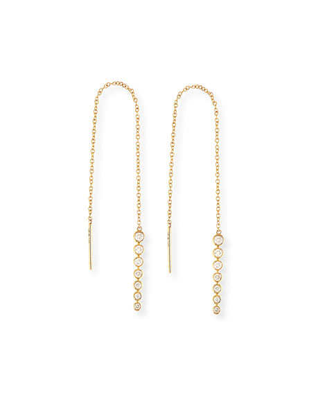 Sydney Evan Diamond Bezel Thread-Through Earrings