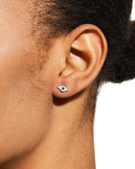 Mini Diamond & Sapphire Evil Eye Stud Earring