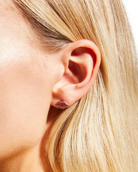 14k Rose Gold & Ruby Lips Single Stud Earring