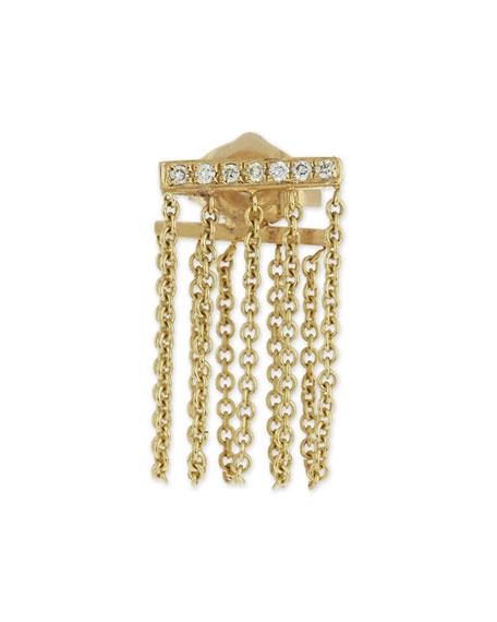Bar Chain Single Stud Earring w/Pavé Diamonds