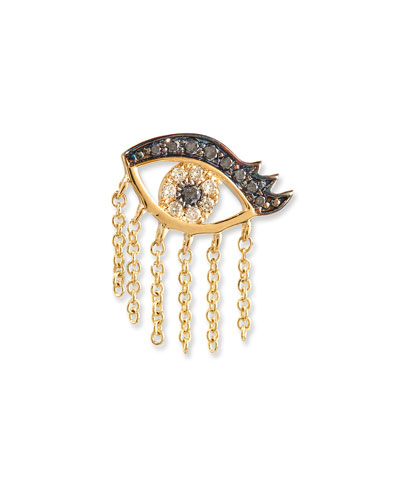14K Short Fringe Lash Stud Earring with Diamonds