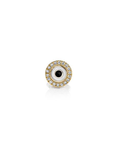 Sydney Evan Enamel Evil Eye Diamond Disc Single Stud Earring