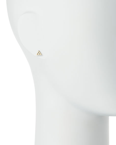 14K Gold Diamond Triangle Stud Earring