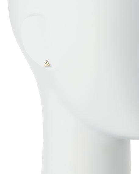 14K Gold Diamond Triangle Stud Earring