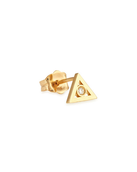 Sydney Evan 14K Gold Diamond Triangle Stud Earring