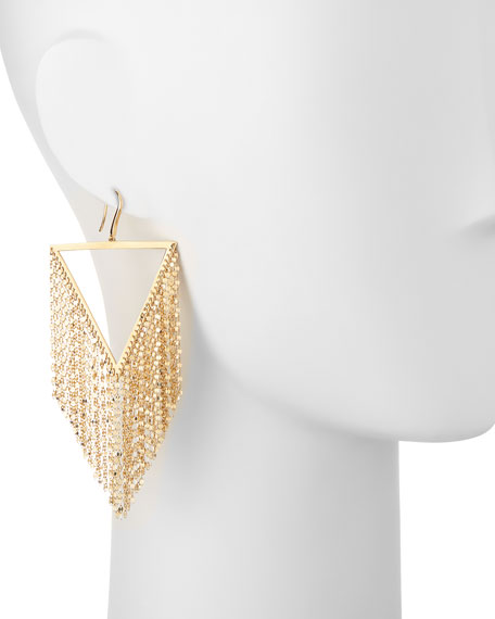14K Gold Triangle Fringe Earrings