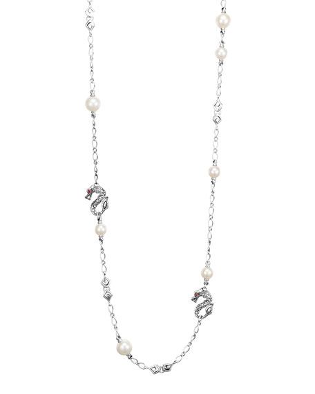 "Batu Naga Silver Sautoir Necklace with Freshwater Pearls, 36""L"