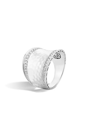 John Hardy Classic Chain Hammered Saddle Ring with Diamonds, Size 7