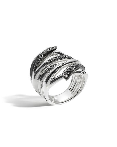 Bamboo Lava Extra-Wide Ring with Black Sapphire