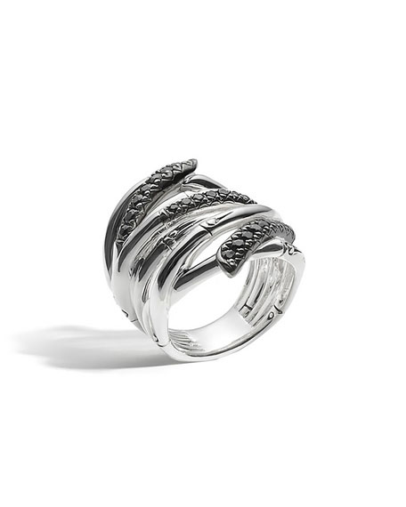 John Hardy Bamboo Lava Extra-Wide Ring with Black