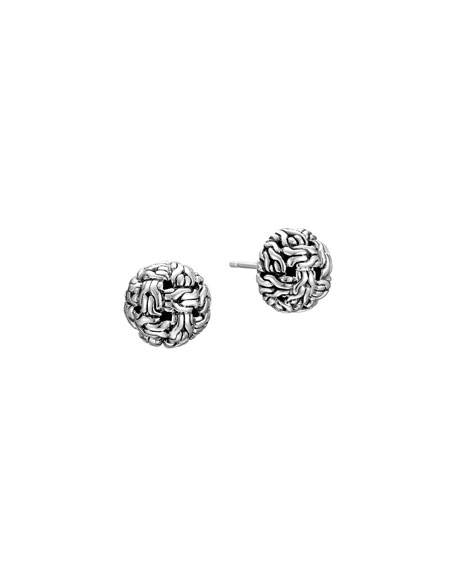 Classic Chain Silver Knot Stud Earrings