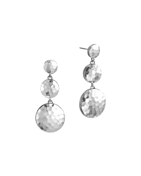 John Hardy Palu Silver Triple Drop Linear Earrings