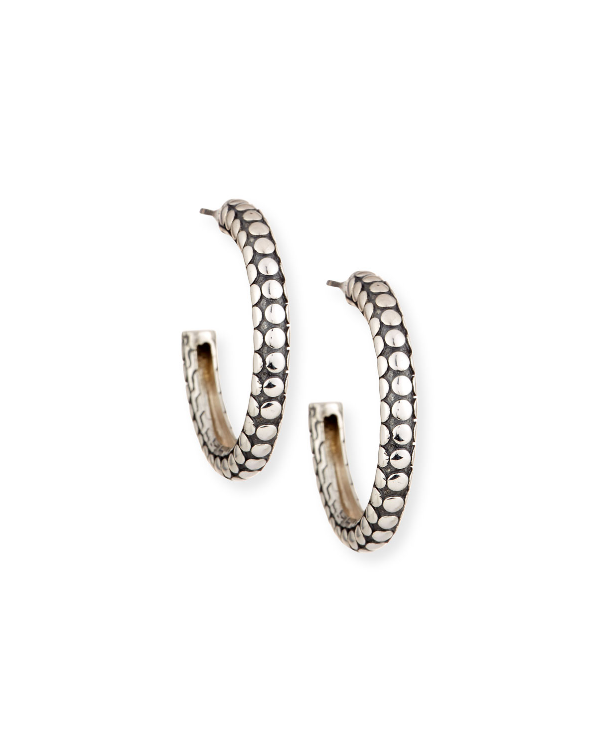 Dot Small Silver Hoop Earrings