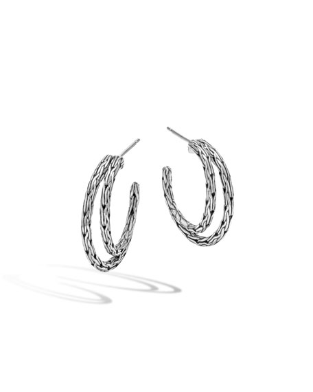 Classic Chain Sterling Silver Double Hoop Earrings