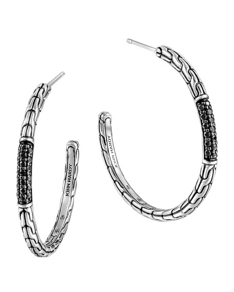 Clic Chain Medium Silver Hoop Earrings With Black Shires