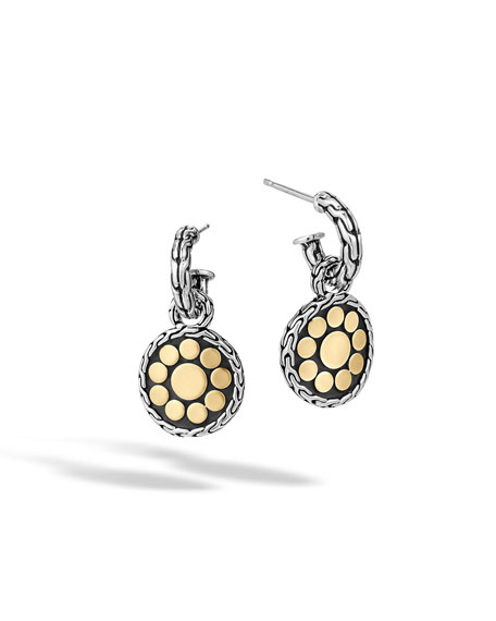 Dot Sterling Silver & 18K Gold Round Drop Earrings