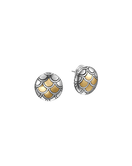 John Hardy Naga Gold & Silver Button Earrings