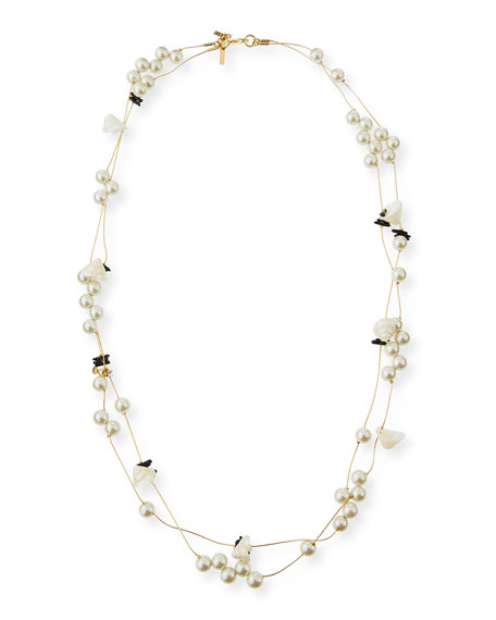 """Pearly Striped Shell Knotted Necklace, 34"""""""
