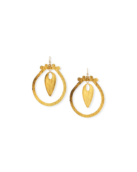 Devon Leigh Hammered Hoop Drop Earrings