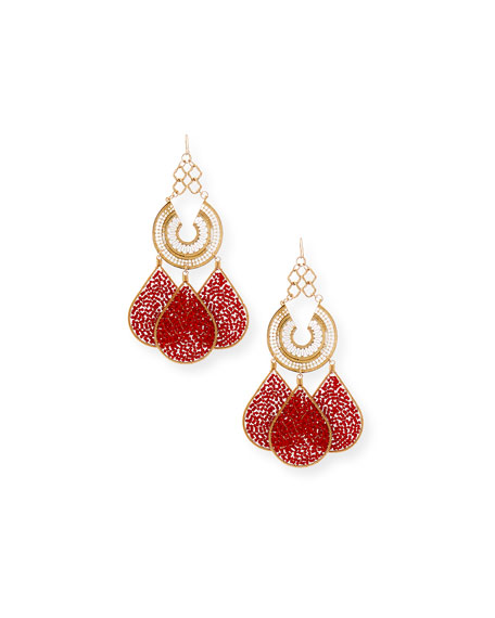 Red Teardrop Chandelier Earrings