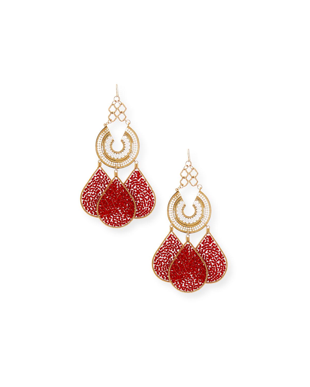 Devon Leigh Red Teardrop Chandelier Earrings F9go6