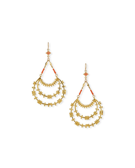 Devon Leigh Tiered Hoop Drop Earrings with Coral