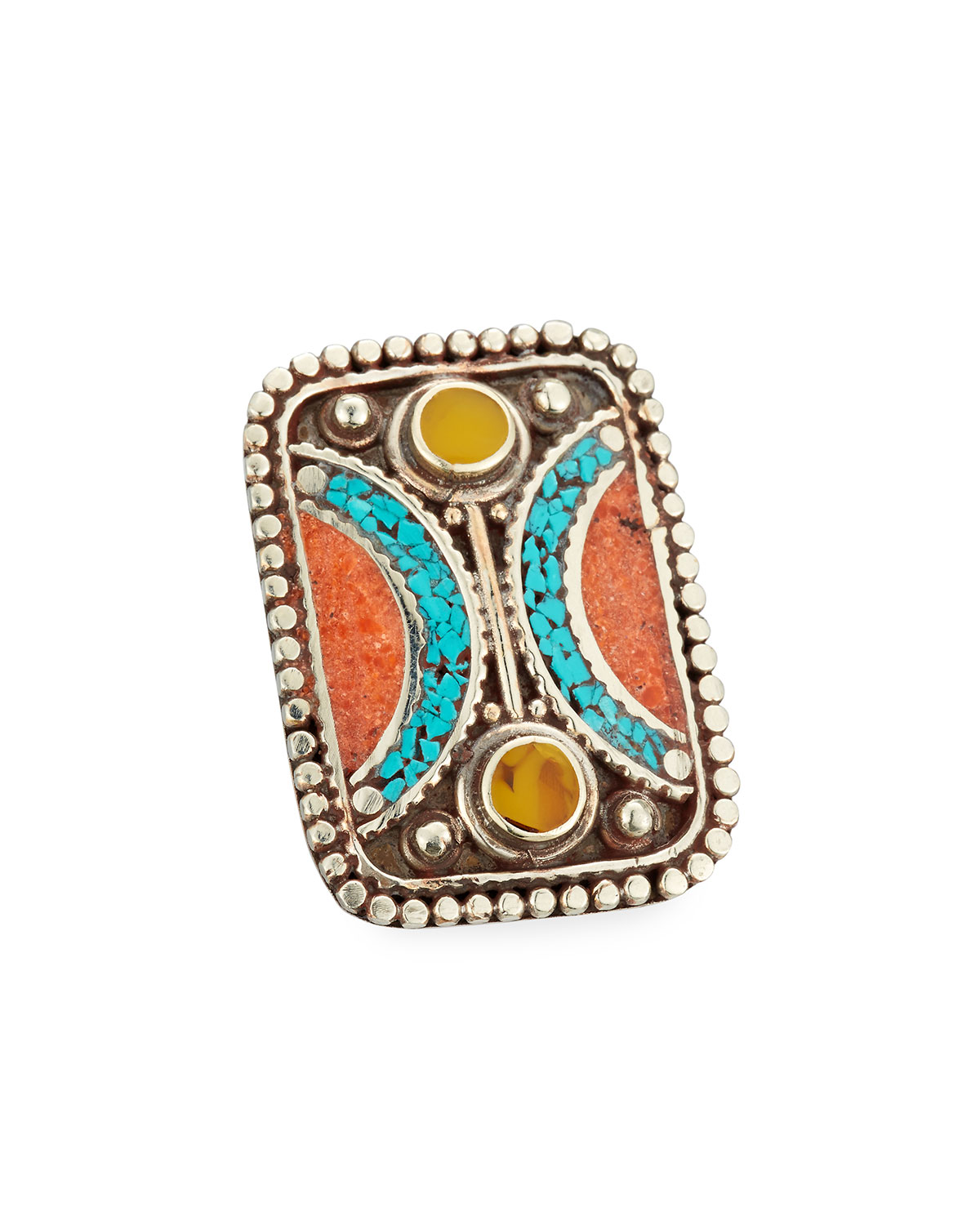Devon Leigh Lapis, Coral & Turquoise Rectangle Ring