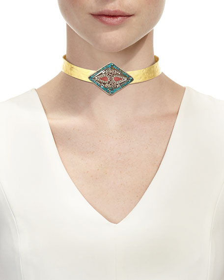 Turquoise & Coral Collar Necklace