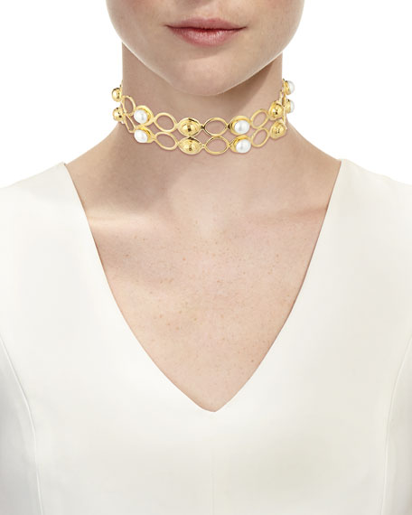 Double-Row Pearl Choker Necklace