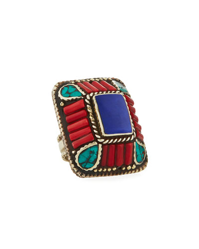 Lapis, Coral & Turquoise Rectangle Ring