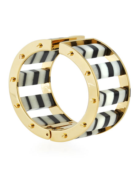 Striped Hinge Barrel Slider Bracelet, Black/White