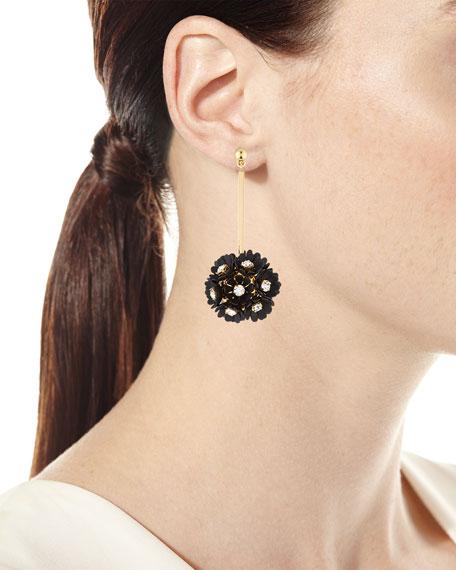 Plumeria Crystal Drop Earrings, Black