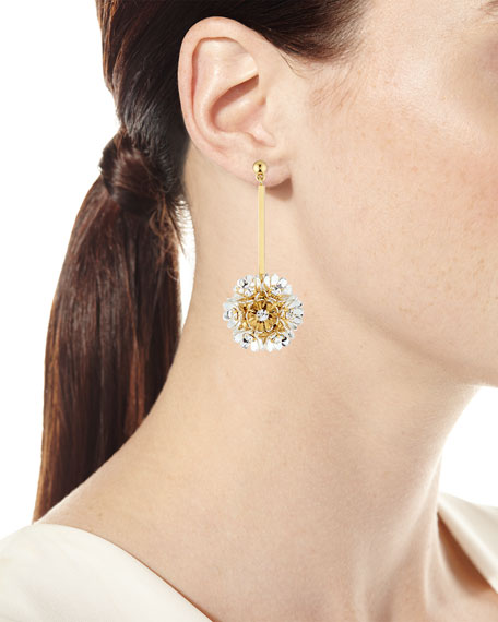 Plumeria Crystal Drop Earrings, Golden