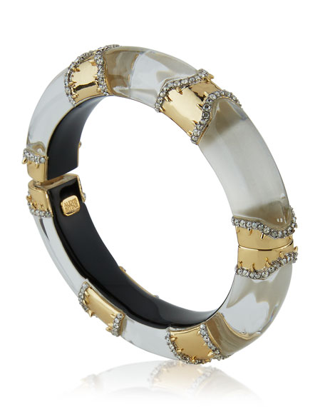 Metal Pavé Lucite Bracelet, Silvertone