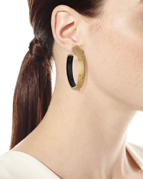 Studded Lucite Hoop Earrings, Golden