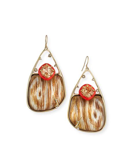 Wood-Grain Drop Earrings