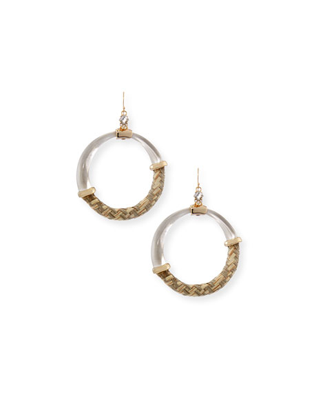 Alexis Bittar Raffia/Lucite Hoop Earrings